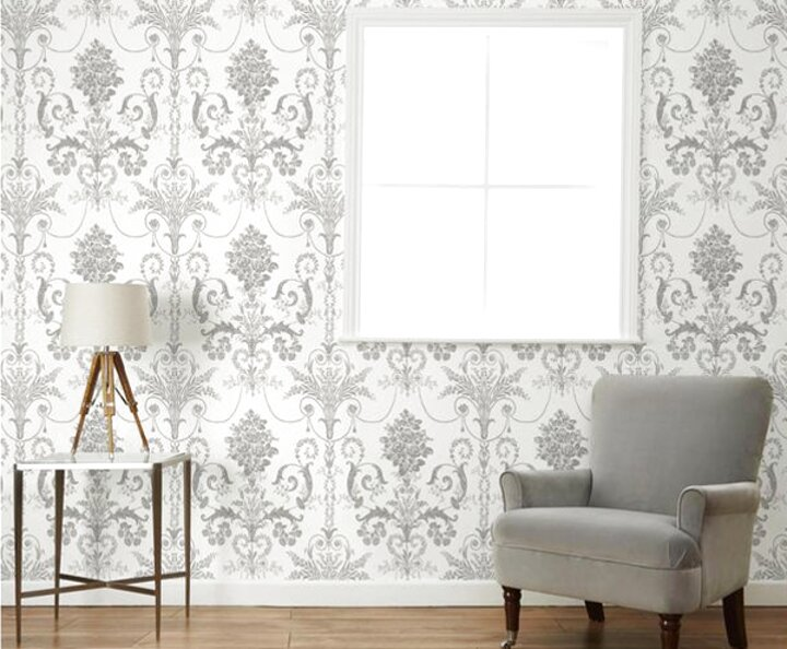 "Laura Ashley Tatton Charcoal Wallpaper 11/"" Lampshade Handmade in UK"