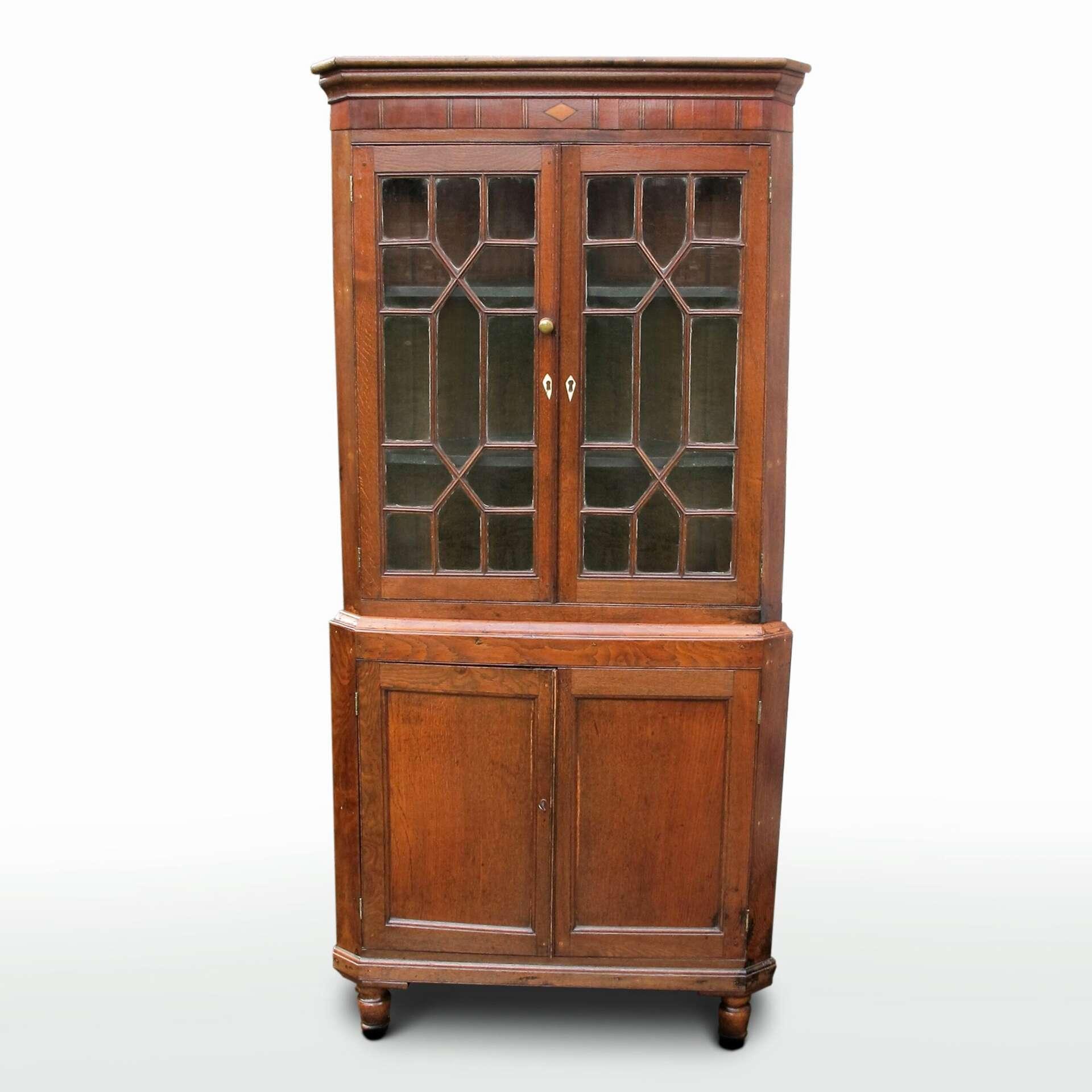 oak corner display cabinet for sale