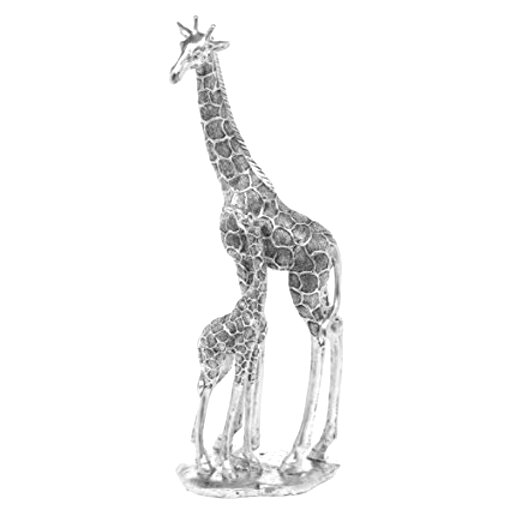 FANTASTIC LARGE  SILVER GIRAFFE MOTHER  BABY FIGURE ORNAMENT NEW  BOXED