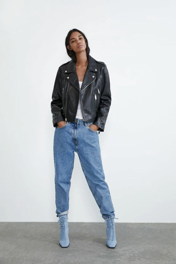 zara leather biker jacket for sale