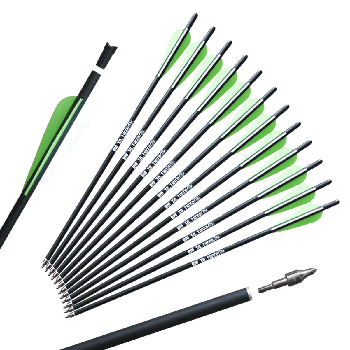 """10 x 20/"""" Anglo Arms Alloy Aluminum Crossbow Xbow Bolts Arrows With Steel Tip End"""