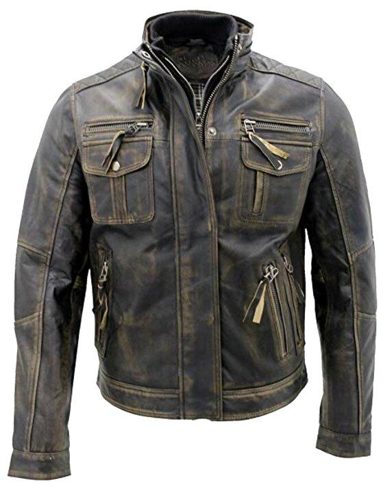 vintage mens leather biker jacket for sale