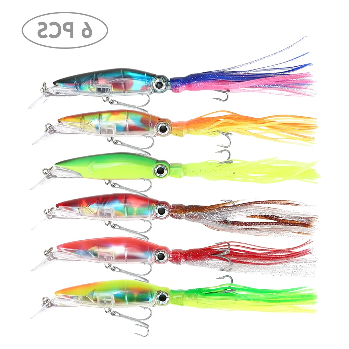 3 FULL RED FLADEN WINGED SQUID 8//0 MUPPET RIG Cod Fishing Lure Sea Boat Tackle