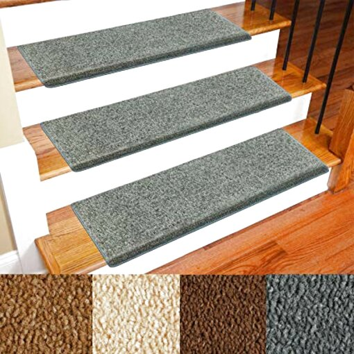 TOPAUP 7 Pcs Stair Carpet Treads Non-Slip Self-Adhesive Stair Mats Step Protectors for Home Staircase Decoration Dark Gray//55 x 20 cm