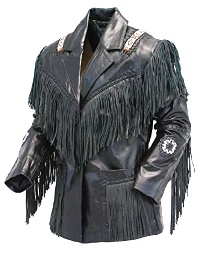 leather fringe jacket for sale