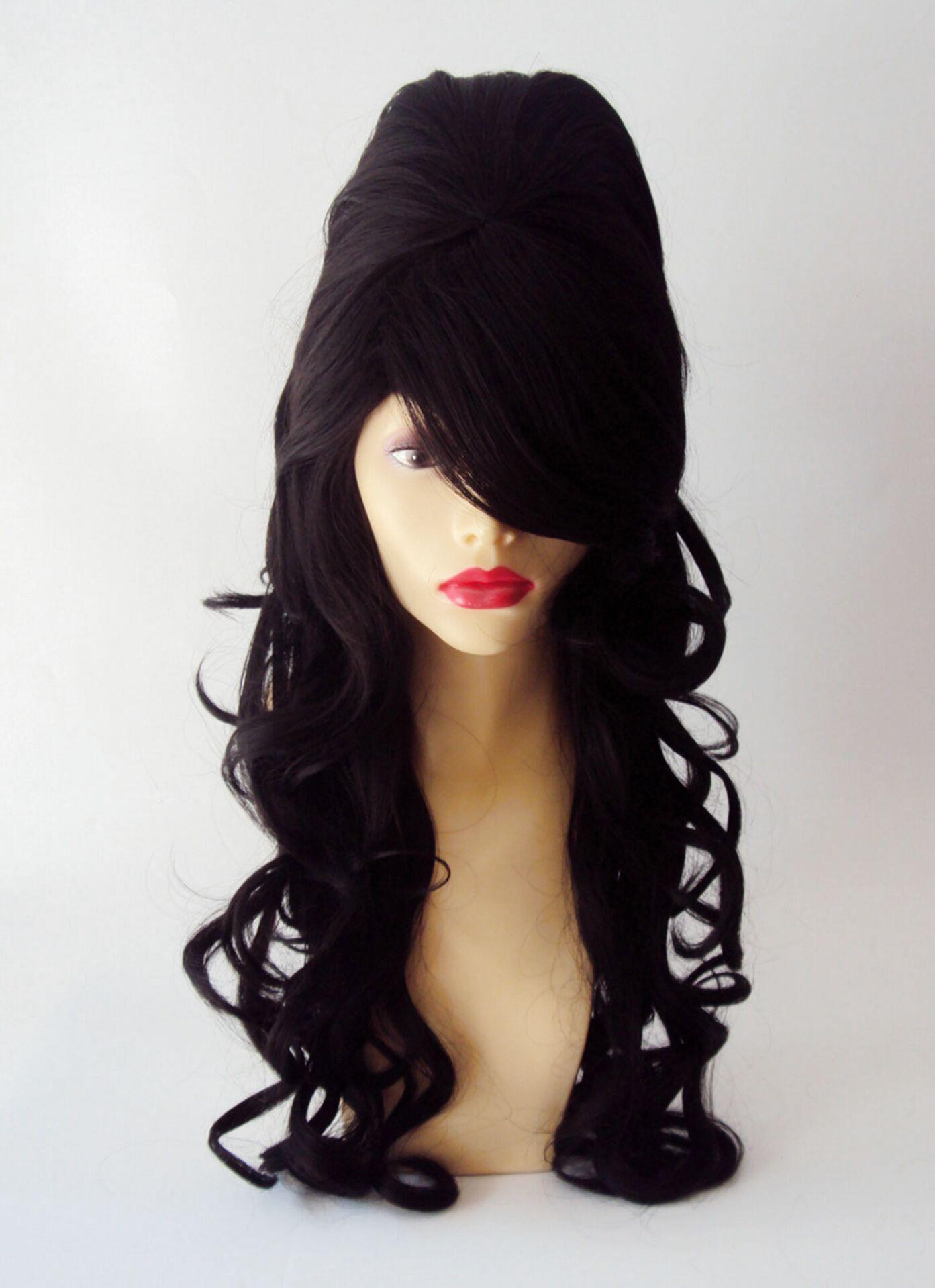 Amy Winehouse Fancy Dress Costume TATTOOs /& Black BEEHIVE Rose WIG /& 1 Fake Cig