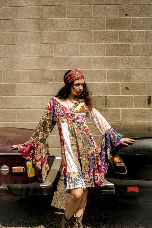 Shopoholic Fashion New Women Full Sleeved V Neck Hippie Handmade Dress Boho Casual Ladies Tunic Top