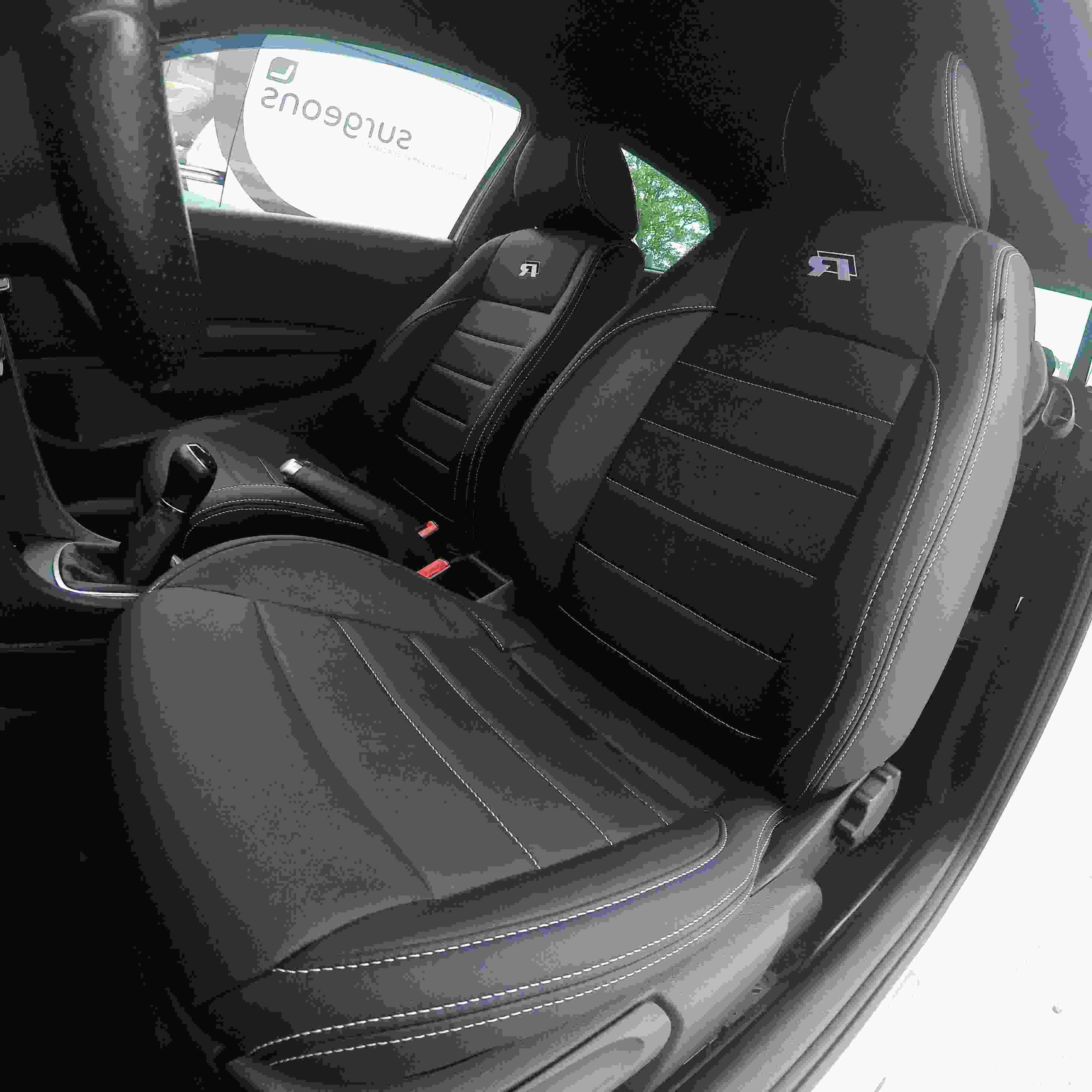 UKB4C Black//Grey Front Pair of Car Seat Covers for Leon All Models