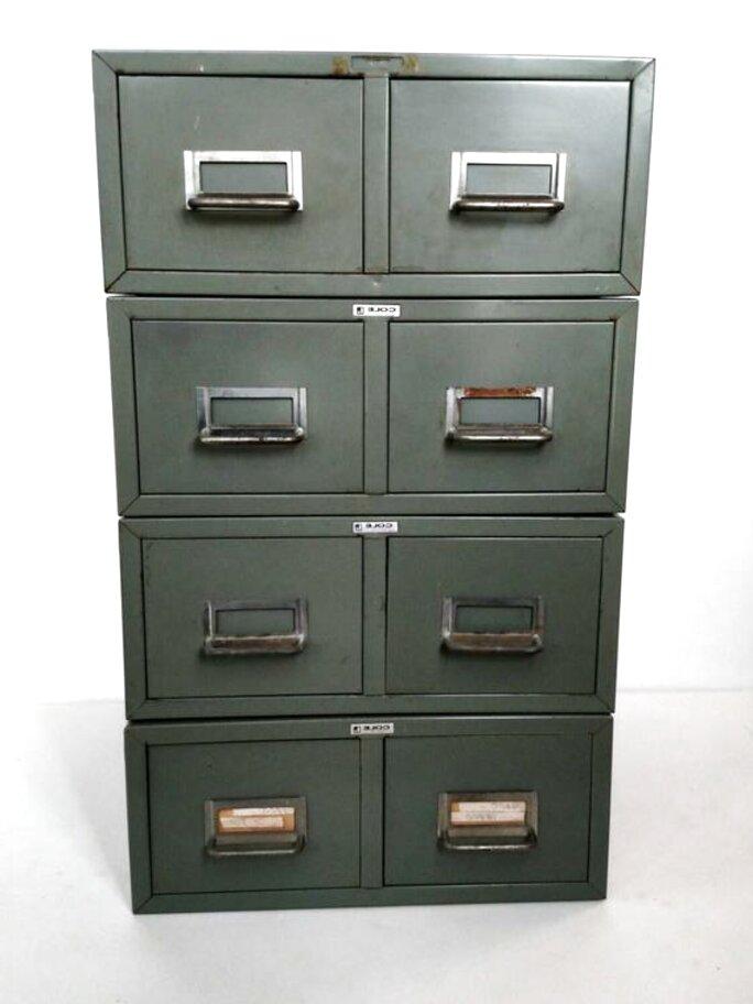 vintage metal card filing cabinet for sale