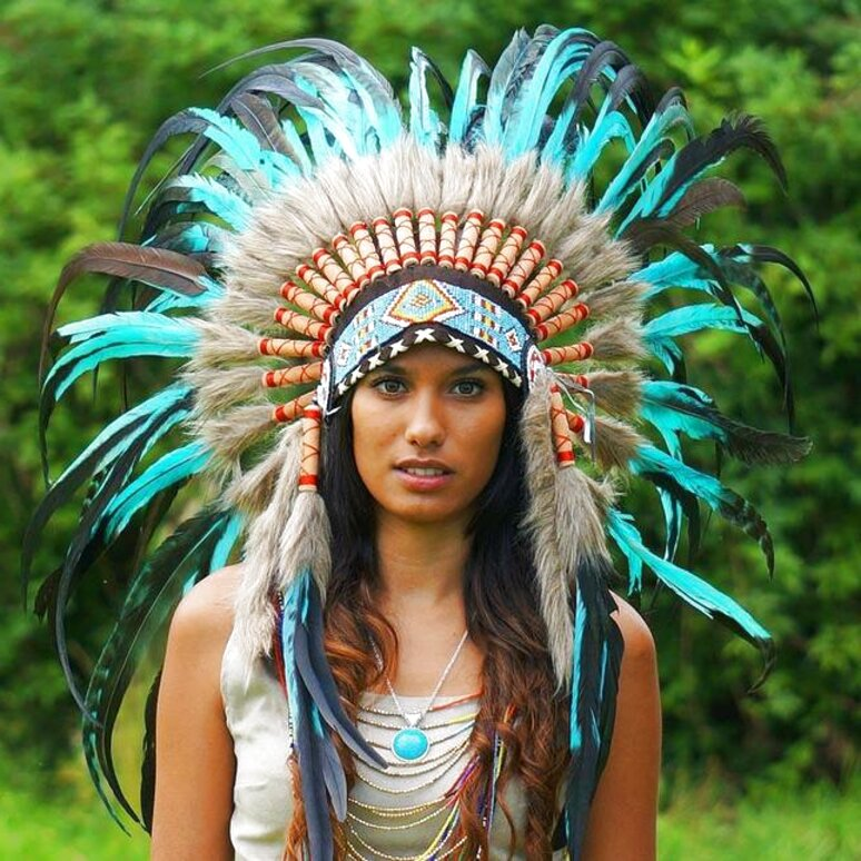 Pink Pineapple Handcrafted Native American Inspired Small Feather Headdress