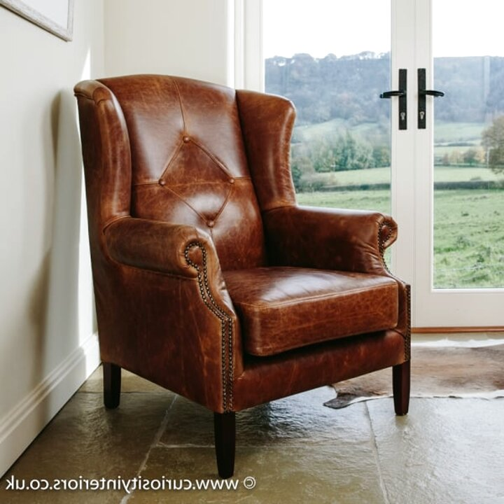 brown leather wing chair for sale