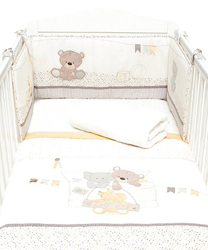 My Little World Nursery Baby Bale Bedding Set Cream Gingham Check Baby Cot Bed Set