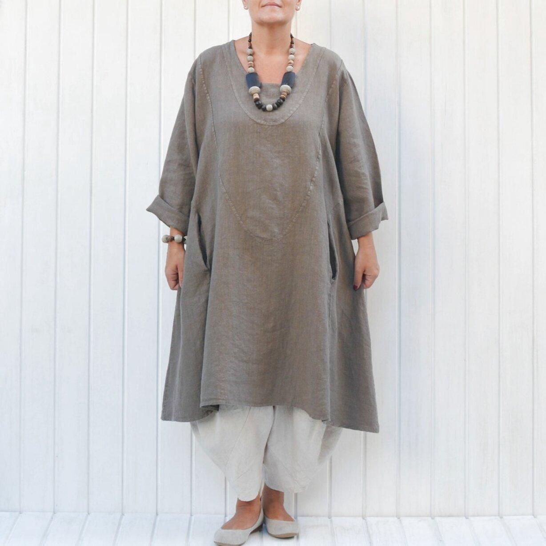 20-24 Lagenlook 100/% Linen Short Sleeve Front Pocket Summer Dress OneSize Plus