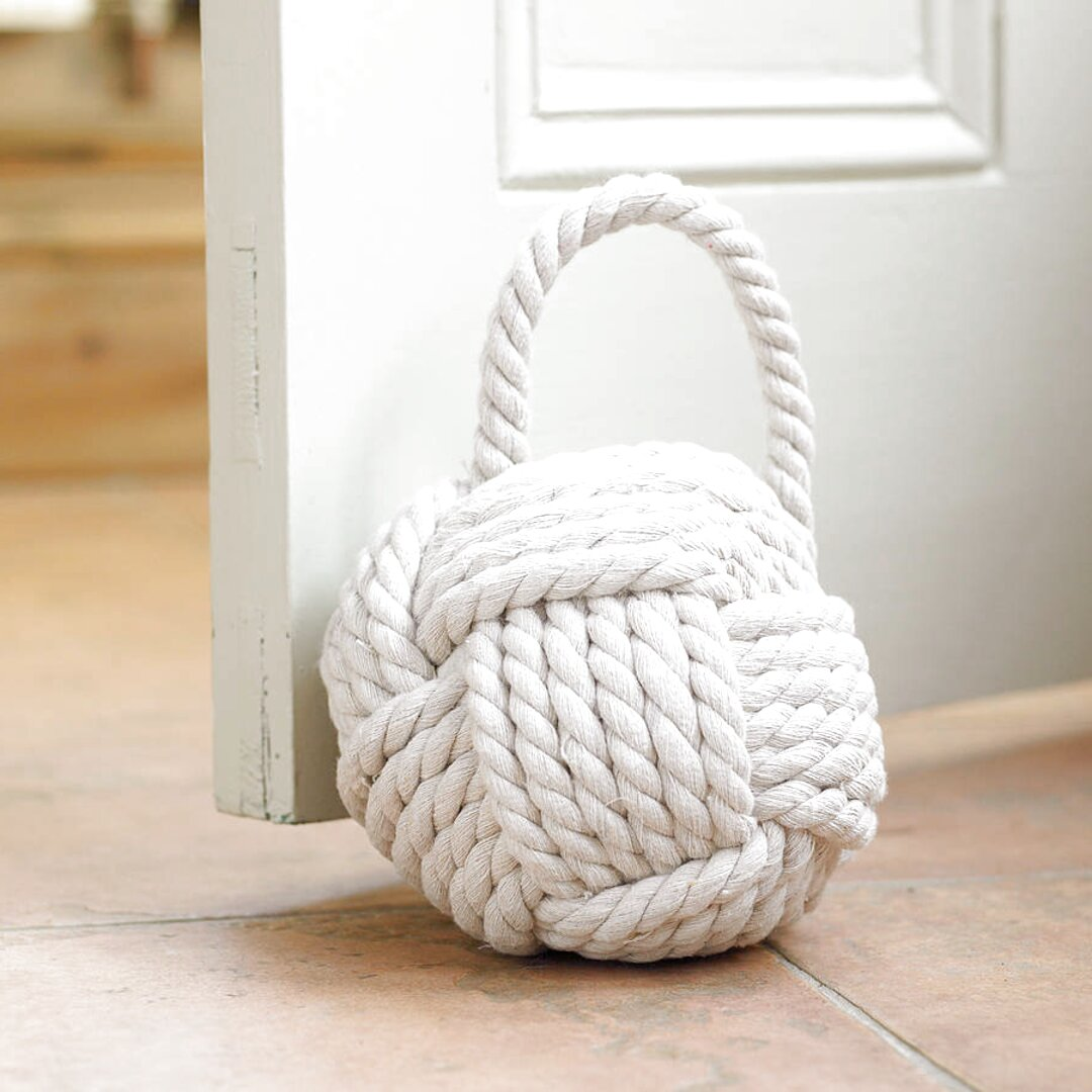 Shabby Chic Coastal Grey Rope Ball Nautical Door Stop