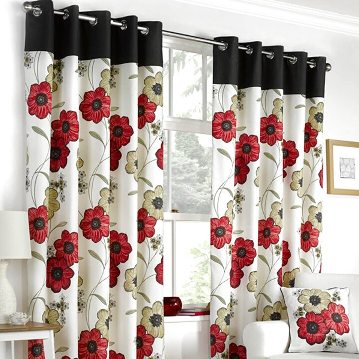 WATERCOLOUR-STYLE FLORAL FLOWERS RED FULLY LINED RING TOP CURTAINS *7 SIZES*