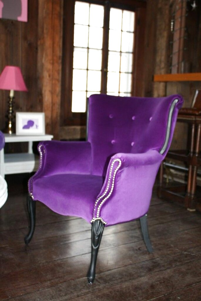 purple velvet armchair for sale
